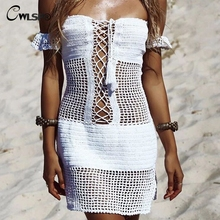CWLSP White Sexy Slash Neck Hollow Out Knit Summer Mini dress Drawstring Women Beach Holiday Dresses robe femme QL3886