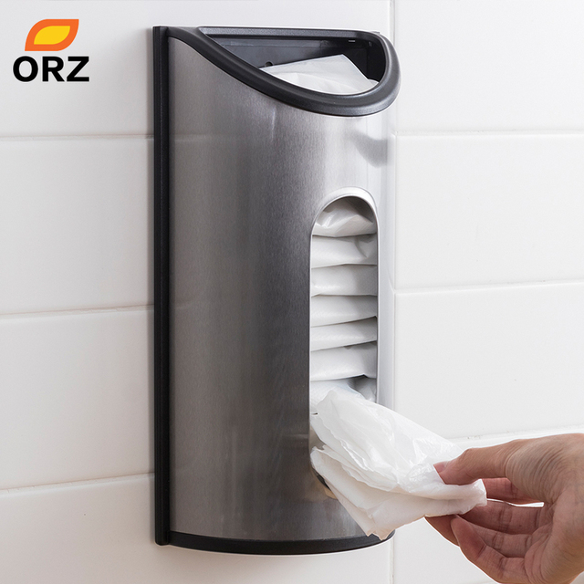 Orz Kitchen Storage Box Wall Mount Grocery Bag Dispenser Stainless Steel Organizer Garbage Holder