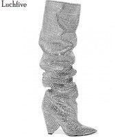 Luchfive 2018 новые роскошные хрустальные с острым носком сапоги до колена сексуальные странные пятки Сапоги и ботинки для девочек Bling со стразам