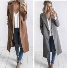 Новый Для женщин Повседневное одноцветное осень-зима Полушерстянная Топ blusas плащ элегантные свободные одежда; пальто с длинными рукавами большой Размеры
