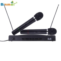 Binmer MotherLander Professional Wireless Microphone System Dual Handheld 2 X Mic Cordless Receiver 51119 Drop Shipping