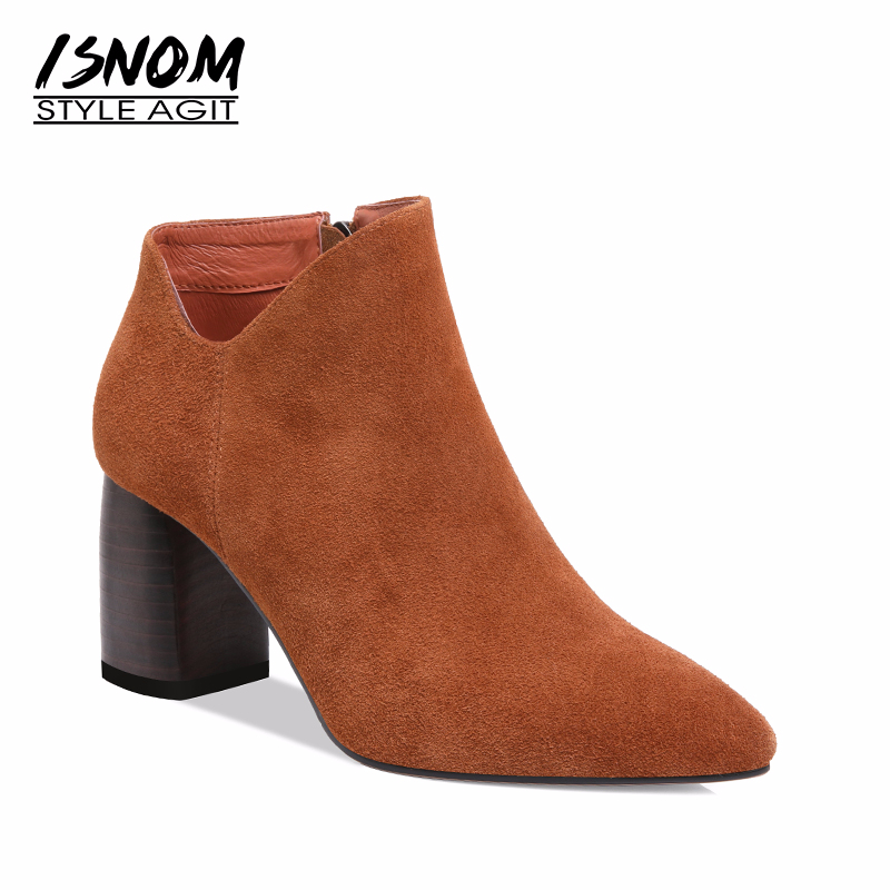 ISNOM 2018 Thick High Heels Ankle Boots Women Cow Suede Boots Shoes New Fashion Office Female Shoes Pointed Toe Zipper Footwear бомбер printio красная и чёрная клетка