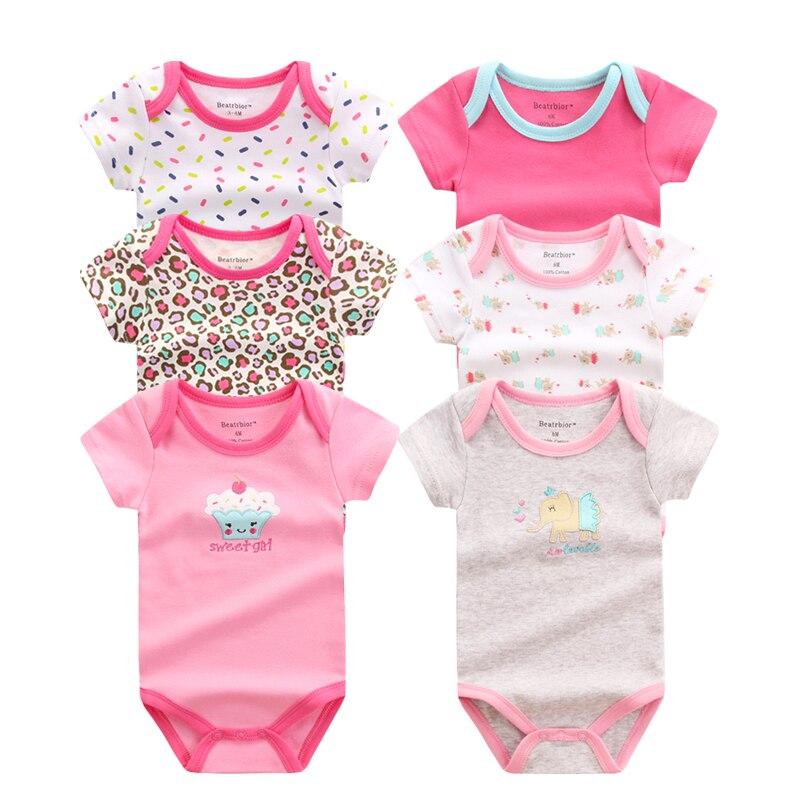 6PCS/LOT Unisex Baby   Rompers   Short Sleeve Cottom O-Neck Novel Newborn Boys Girls Roupas Infant de bebes Baby Clothes Jumpsuits