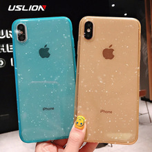 USLION Bling Powder Transparent Case For iPhone X XR XS Max Glitter Clear Silicon Phone for 7 6 6S 8 Plus Soft Cover