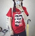 2015 verano nueva moda HALAJUKU chica corazón lápiz labial impreso sipmle lindo shrort manga de la camiseta