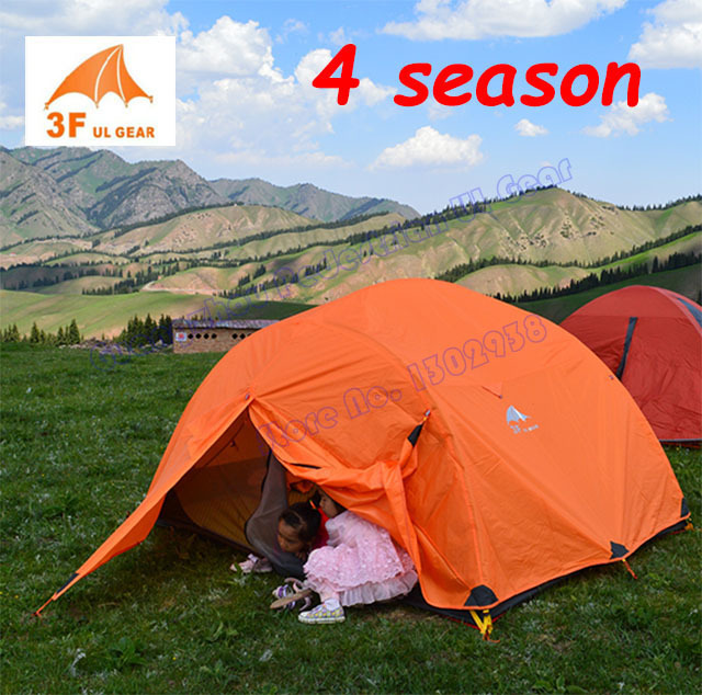 3F Gear 210T 4 seasons 3 person 2 layer PU coating camping tent with aluminium pole