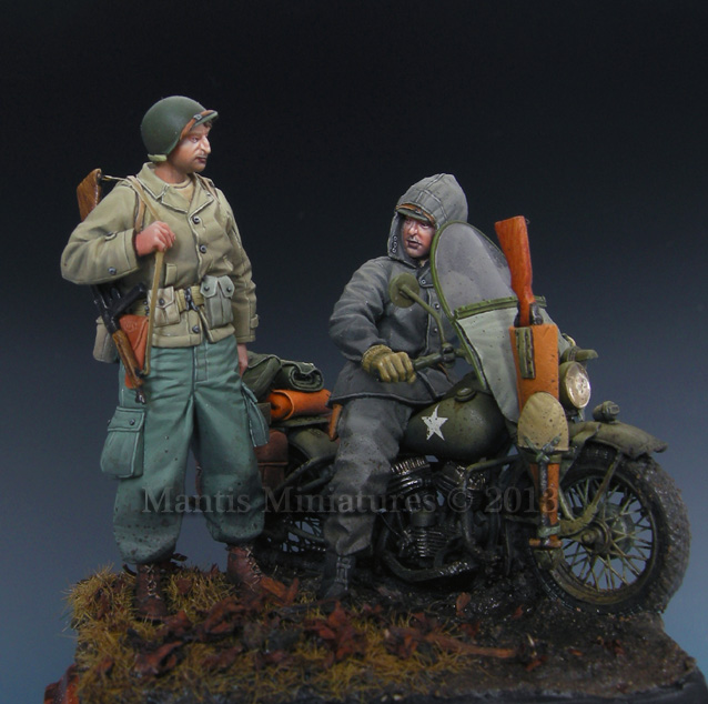 1:35 US Soldier & Rider (for MINIART Kit)German Motorcyclist Soldier KG Hansen At Poteau Set