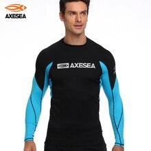 Surfing Shirt Swimsuit Rashguard Top-Upf50 Sun-Protection Long-Sleeve AXESEA Patchwork