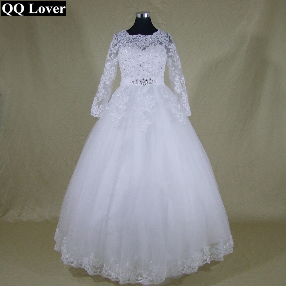 Qq lover 2017 new new arrival white ivory lace long for Long sleeve white lace wedding dress