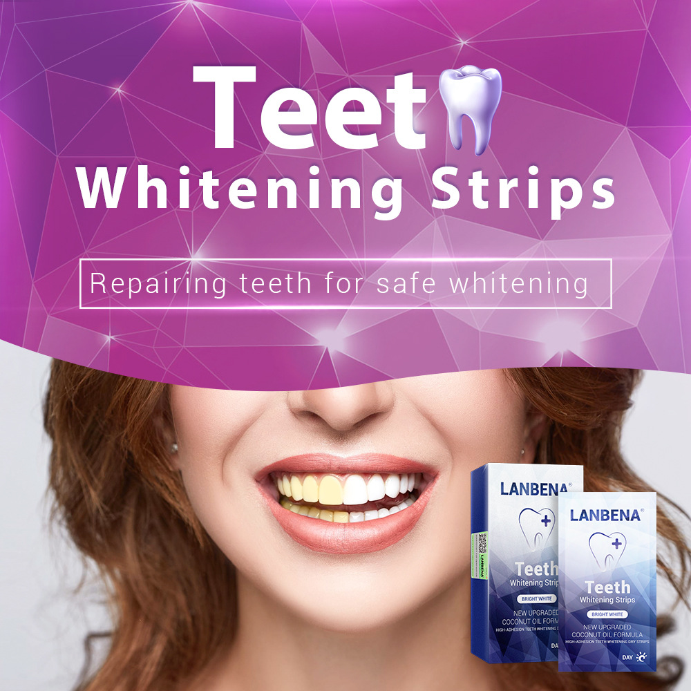 LANBENA Teeth Whitening Strips Oral Hygiene Teeth Veneers White Strips Removes Plaque Stains For Night Teeth Care 7 Pairs / Box