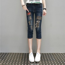Women Summer Calf Length Hole Jeans 2017 New Lady Casual Hole Letter Print Denim Pants Trousers Women's Plus Size Clothing 5XL