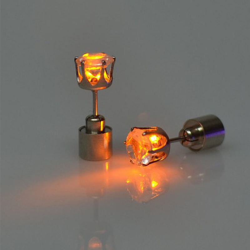 1pair Charm LED Earring Light Up Crown Glowing Crystal Stainless Ear Drop Ear Stud Earring font