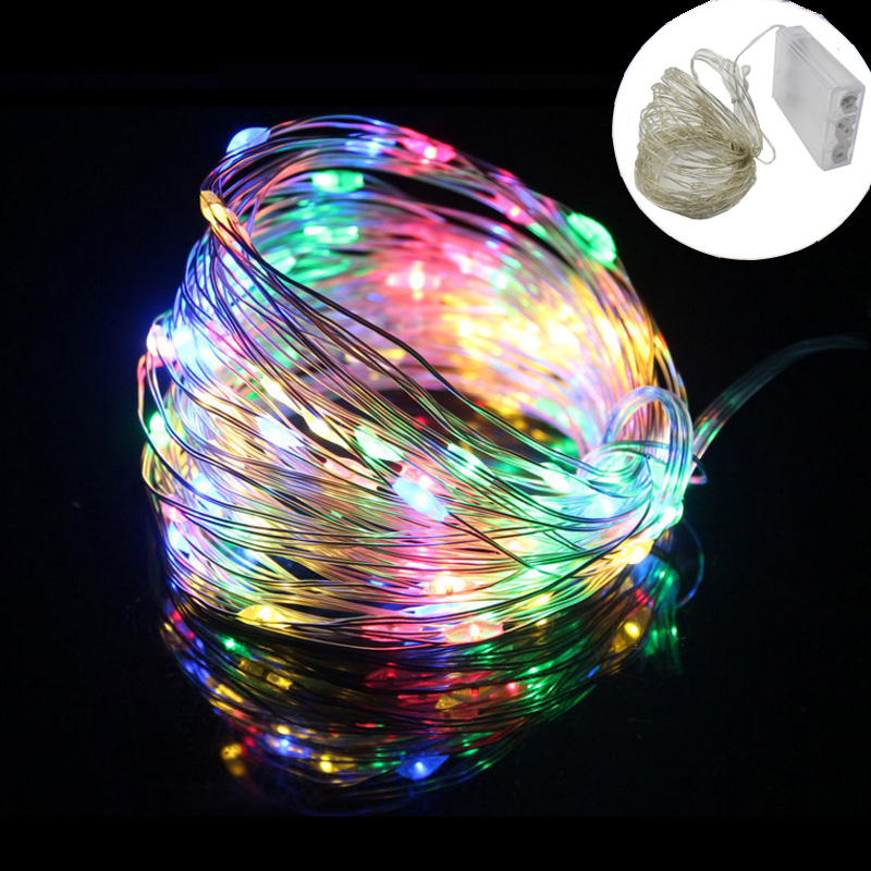 GBKOF 2M 5M 10M 100 Led Strings Copper Wire 3XAA Battery Operated Christmas Wedding Party Decoration LED String Fairy Lights