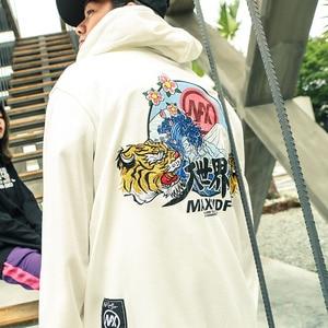 Image 5 - Hip Hop Hoodie Sweatshirts Embroidery Tiger Head Harajuku Streetwear 2018 Autumn Floral Wave Men Hoodie Pullover Cotton Oversize