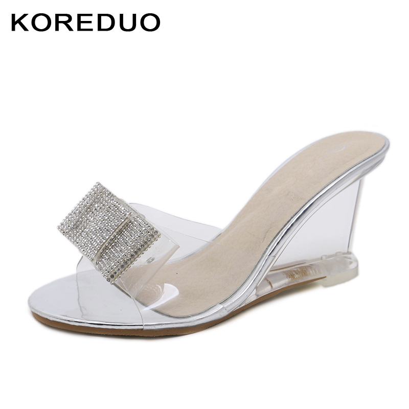 ae07572a188 KOREDUO New Sexy Women Slippers Summer Shoes Open toe Transparent PVC  Uppers High Wedge Heels Slippers ladies Crystal Shoes ms