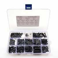 260 pièces M3 noir M-F série hexagonale vis en nylon, écrous, PCB conseil hauteur hexagone entretoise kit complet avec boîte
