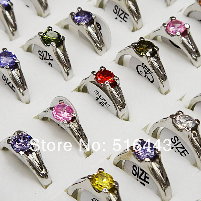 A 014 100pcs Wholesale Jewelry Top Cubic Zircon Fashion Women Rings Mix Color Free Shipping