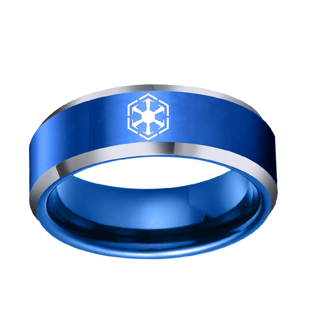 f87d42defea Hot Sales 8MM Comfort Fit Star Wars Sith Design Blue   Silver Flat Shiny  Men s Tungsten Wedding Ring Dropshipping to USA