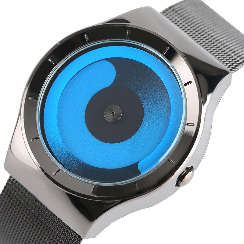 Kreative Einzigartige Schrittweise Plattenspieler Swirl Uhren Edelstahl-bügel-netz Quarz Sportuhr Männer Blauen Ozean Stil Unisex Geschenke