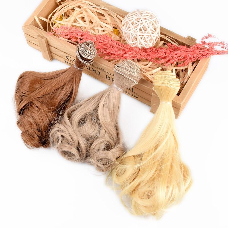 DIY волна парик черный золото выдувного хаки вьющиеся волнистые волосы в парик Горячая груша вьющиеся волосы для аксессуары кукол Рождество ...