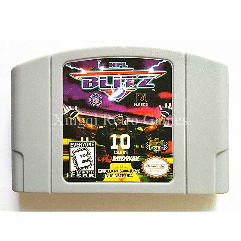 Nintendo n64 juego nfl blitz cartucho de consola de videojuegos tarjeta idioma i