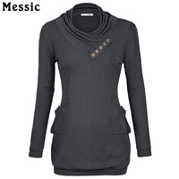 Messic 2016 New Autumn Women Basic T Shirt Long Sleeve Cowl Collar Casual Tops Female Fitted