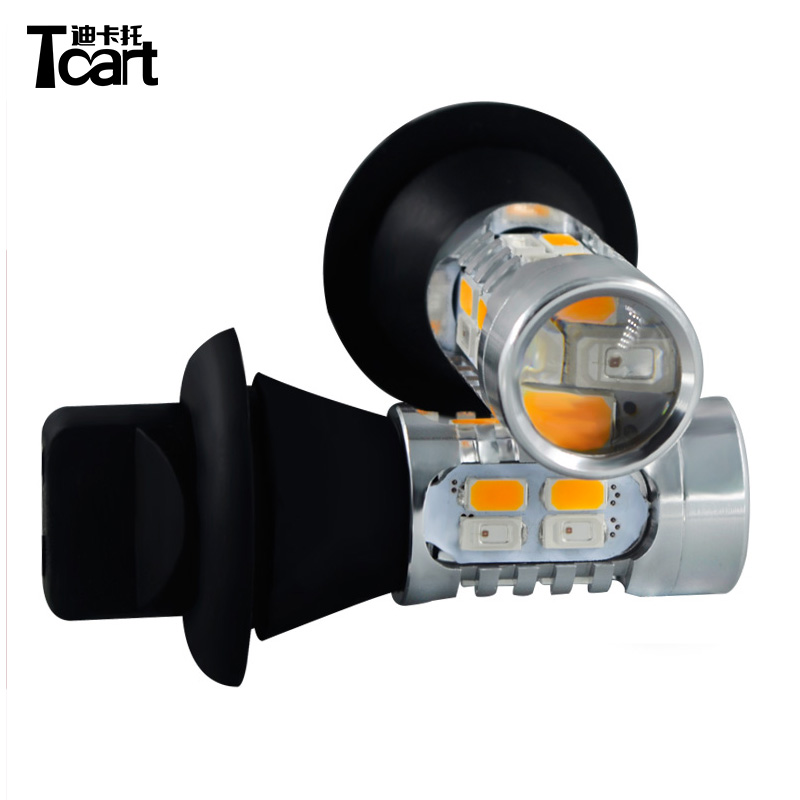 Tcart Auto Led Bulbs T20 WY21W 7440 Accessories For Infiniti FX37 FX 50 2011 Yellow Turn Signals + Red Break light All in one