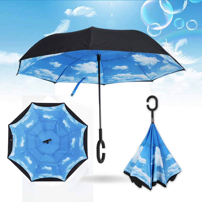Reverse Double Windproof Double Layer Rain Umbrella Inverted Auto Inside Out Rain Protection C Hook with