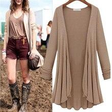 Women Cardigan Sweater Fashion Cotton Top Thin Blouse Long Sleeve 2018 Autumn Winter Cardigans Coat Big Size Flounce Plus Size
