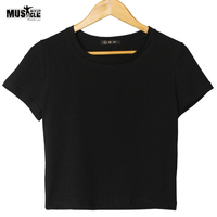 Women Tshirt Crop Top Short Sleeve Summer Casual T-shirts Cotton Plus Size Workout For Female Ladies Girls Plain Solid Black