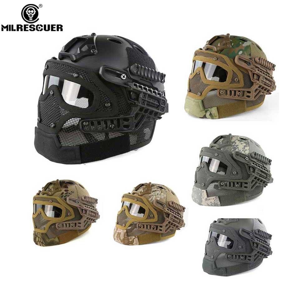MILRESCUER Nouveau G4 système de protection Tactique Casque Cap plein visage masque avec Lunettes pour Militaire Airsoft Paintball Armée WarGame