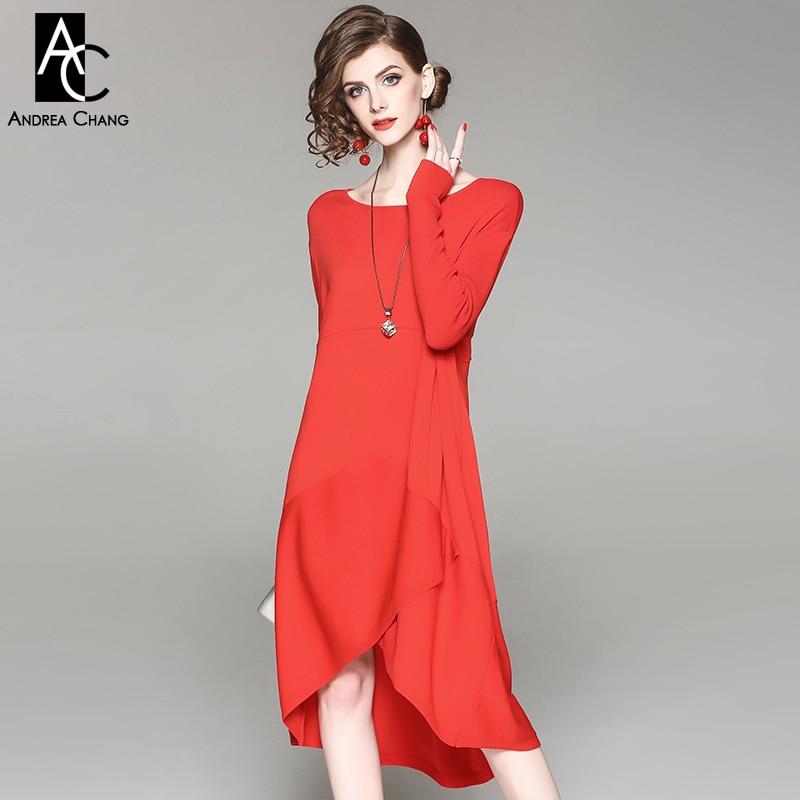 лето весна женщины платье передняя сплит асимметричный низ черный красный трикотажное платье длиной до колен случайные свободные плюс Размер платье