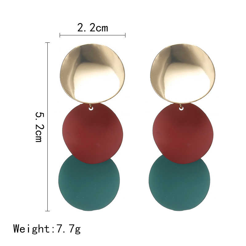 2018 New Elegant 3 Colors Uneven Round Metal Drop Earrings for Women Geometric Earrings Indian Jewelry Girl Christmas Gift