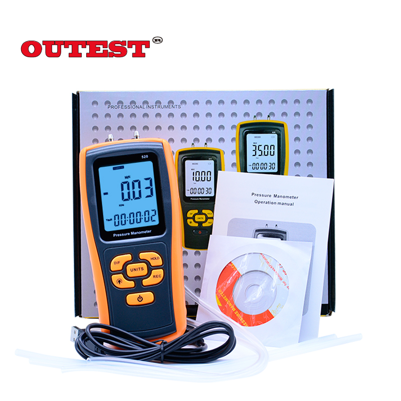 Unique 150KPa Digital LCD display Pressure manometer yellow differential manometer pressure gauge OUTEST GM520(with Carry box) portable lcd digital manometer pressure gauge ht 1895 psi air pressure meter protective bag manometro pressure meter