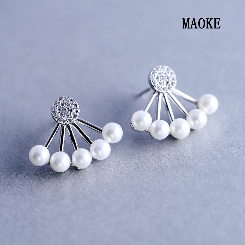 Promotions 925 Silver Sweet Fresh Fan Shaped Pearl Studs Two piece Earrings Fashion Jewelry for Women's Fashion Gifts