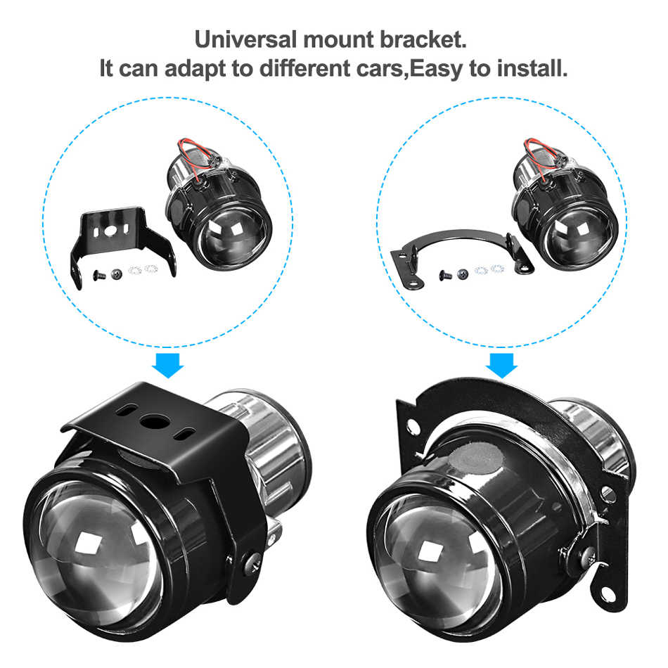 2.5 pouces HID bi-xénon antibrouillard métal projecteur lentille bifocale conduite lampe rénovation moto voiture style H11 4300K 6000K 8000K