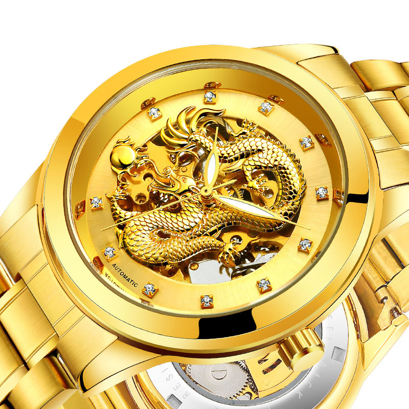 Dragon Skeleton Automatic Mechanical Watches For Men Wrist Watch Stainless Steel Strap Gold Clock 50m Waterproof Mens Hodinky shenhua brand black dial skeleton mechanical watch stainless steel strap male fashion clock automatic self wind wrist watches