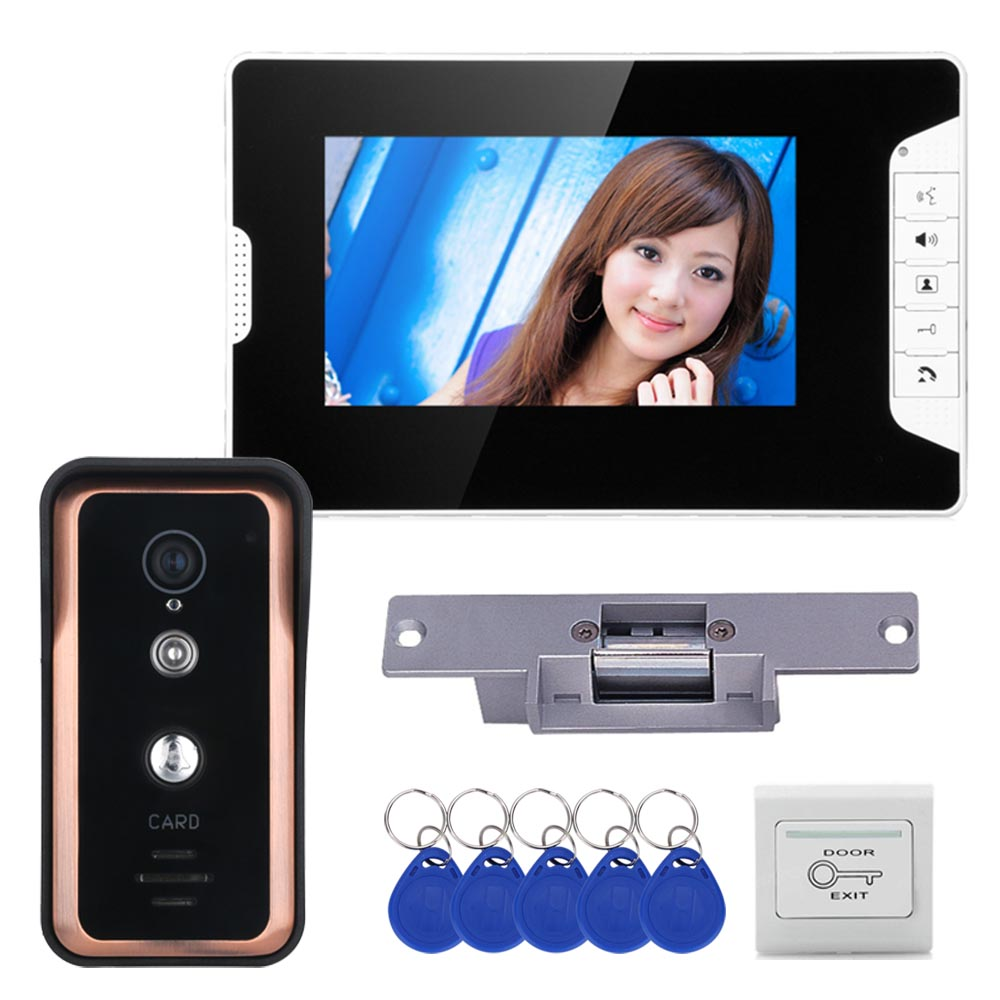Wired 7 Inch Color LCD Video Door Phone Video Intercom Doorbell System 1 Monitor 1 RFID IR-CUT Camera + Electric Strike Lock