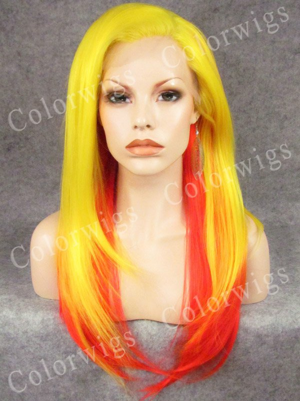 Yellow Ombre Orange Color Long Silk Straight Synthetic Hair Glueless