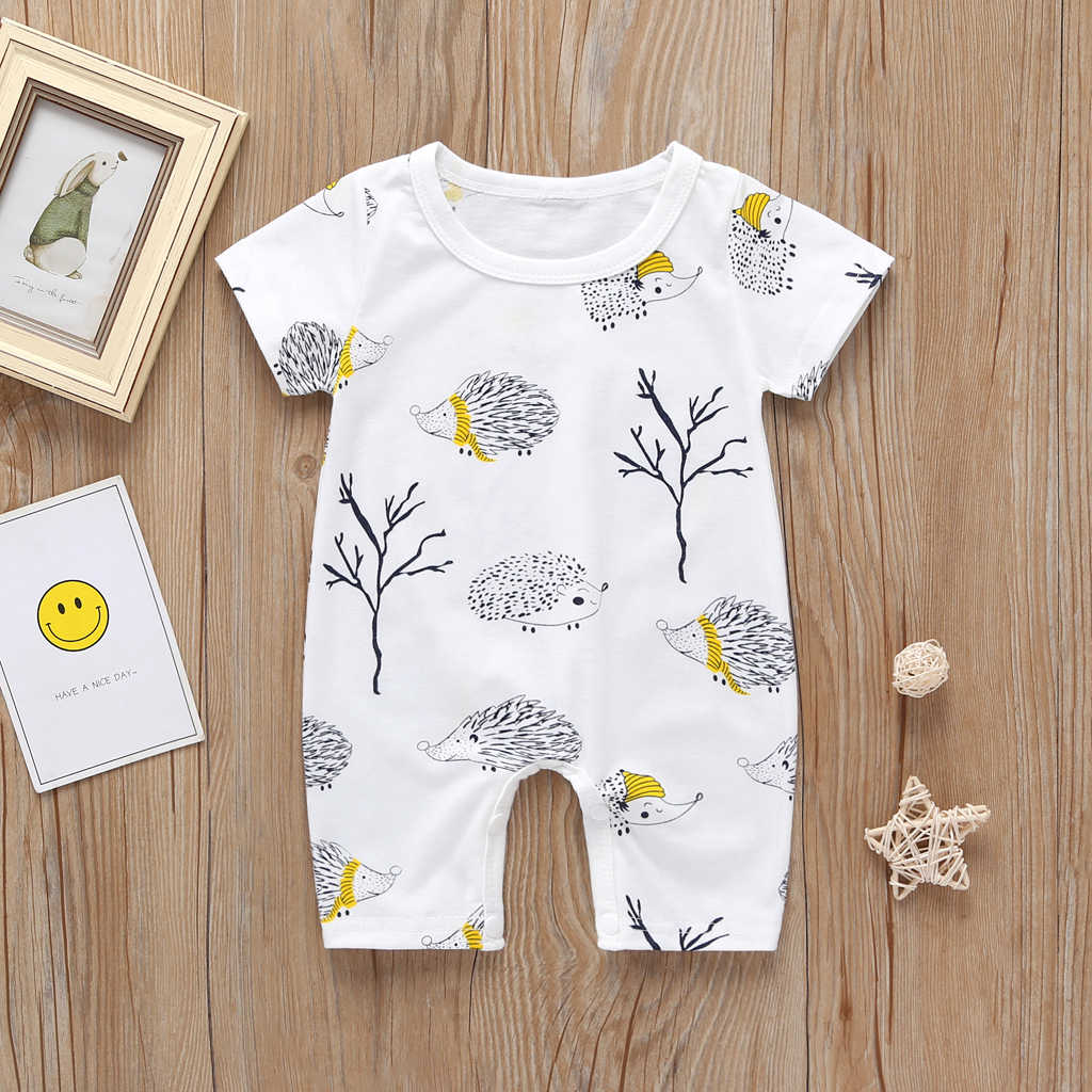 Baby Boys Girls Cartoon Hedgehog Rompers Summer Cotton Sunsuit Unisex Short-sleeved Playsuit Clothes Newborn Jumpsuit Clothing