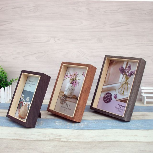 Vintage Photo Frame Square Wood Frame Wooden Crafts Desk Decor