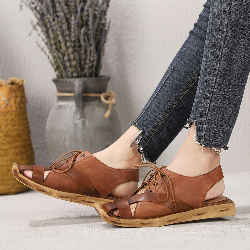 2019 New Arrival Women Sandals Retro Ethnic Style Shoes Lady Genuine Leather Handmade Design Womens Flat Sandals2019 New Arrival Women Sandals Retro Ethnic Style Shoes Lady Genuine Leather Handmade Design Womens Flat Sandals