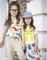 2016 бобо выбирает полоса футболки мальчик одежды топ детская одежда vetement enfant reine des neiges гарсон семья носит