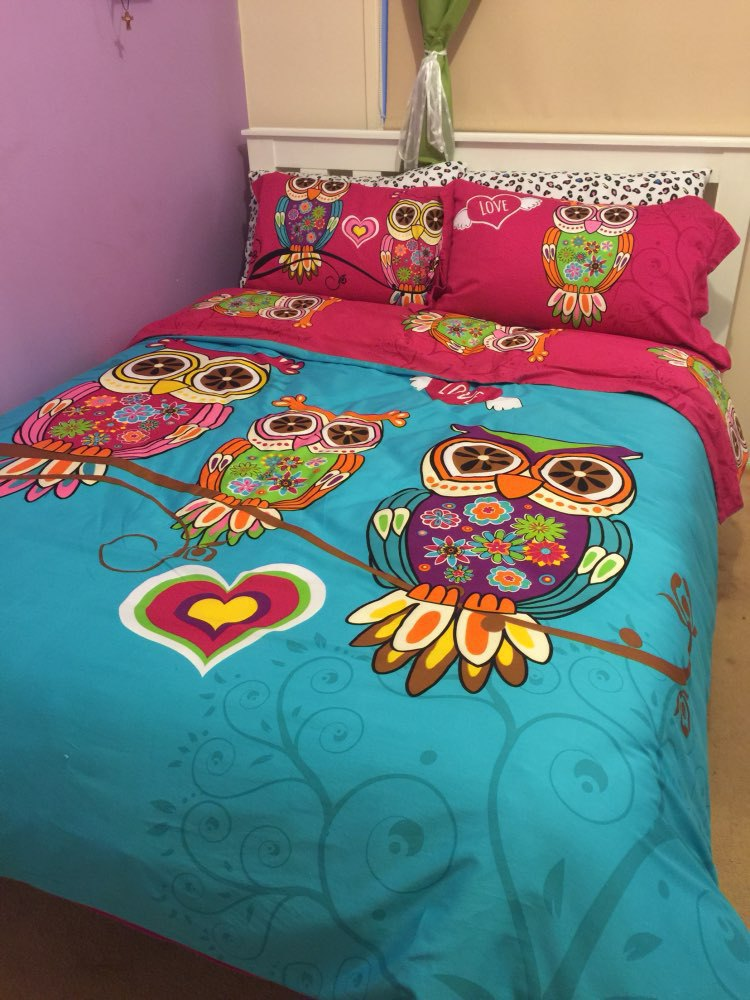 3 4pcs twin single kids owl bedding queen king size adult - Drap housse king size ...