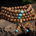 2016 New 108*8mm Natural Sandalwood Buddhist Wenge Prayer Beads Bracelet  Weed Turquoise Bangle Women Men Jewelry Wholesale