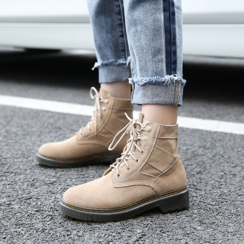 Genuine Leather Women Boots Lace Up Dr Martin Boots Winter Plus Size Shoes Woman Ankle Boots Femme Botas Mujer 2018 New Booties 2017 new autumn winter shoes for women ankle boots genuine leather boots women martin boots lace up platform combat boots botas