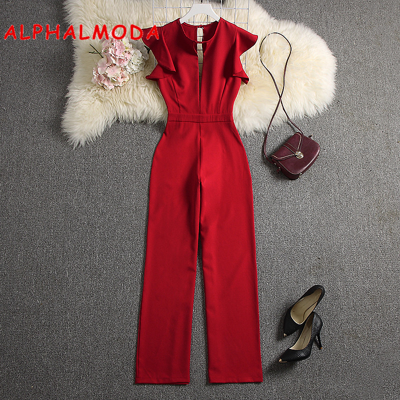 ALPHALMODA 2019 Summer Women Deep V-neck Sexy Jumpsuits Solid Color Straight Full Length Pants Ladies Party Overall Outfit