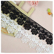 7cm width black white lace for fabric sewing on ribbon guipure trim warp knitting DIY Garment Accessories free shipping