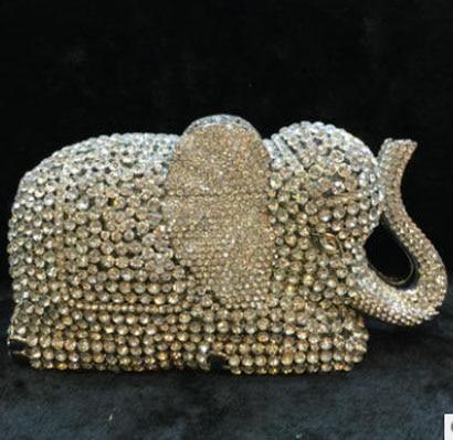 womens Gift Box Lady Rhinestones Crystal Diamond Elephant Clutch Bag Fashion Party Day Clutches Wedding Metal Purses Handbag
