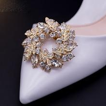 이동식 여자 럭셔리 반지 라인 석 디자인 신발 장식 신발 클립 신발 버클